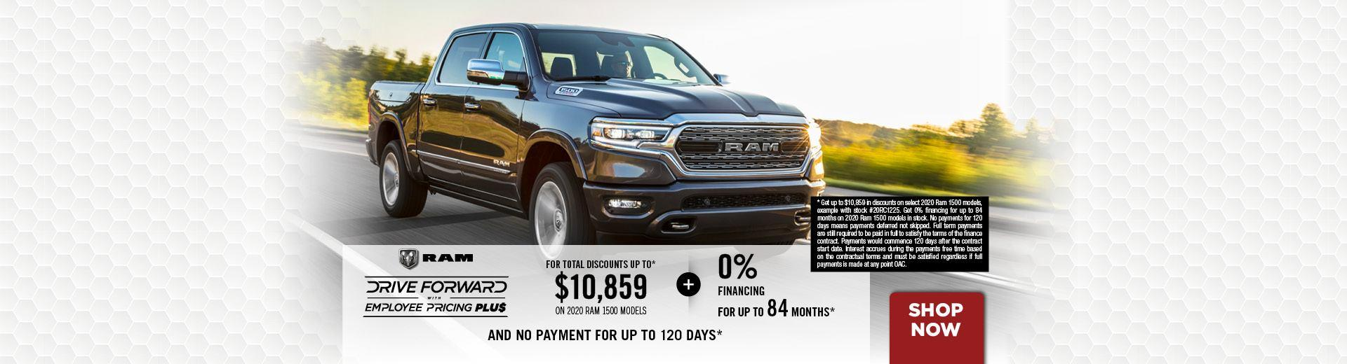 0% financing up to 84 months available on all 2020 Ram 1500 (DT) models